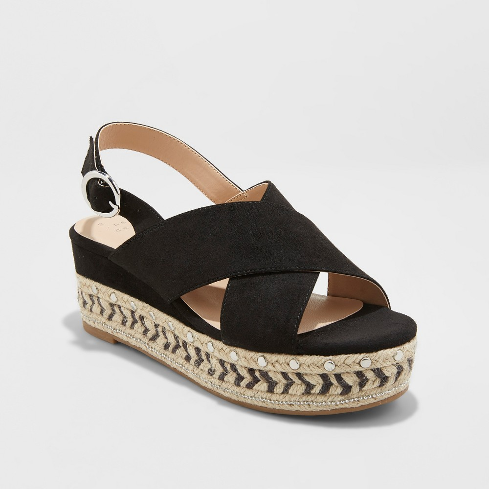 Women's Trista Mixed Media Wedge Espadrille - A New Day Black 8