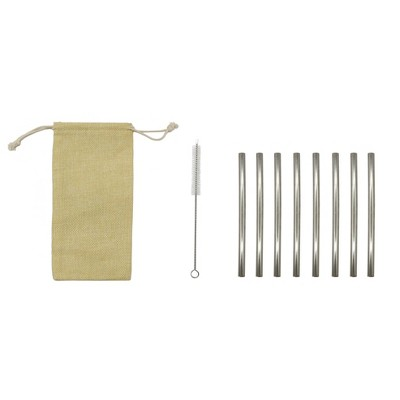8pc Reusbale Straws with Cleaning Brush & Carrying Pouch Stainless Steel Cocktail - Room Essentials™