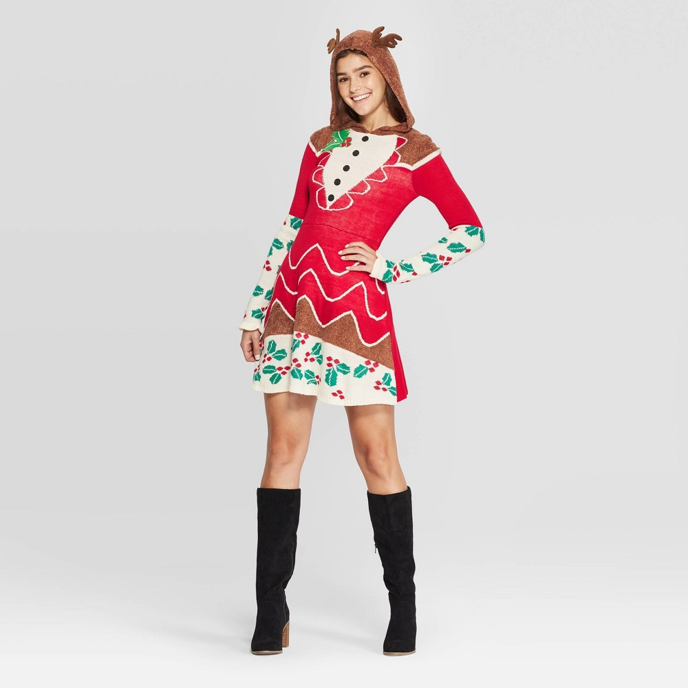 Image of Women's Long Sleeve Reindeer Ugly Holiday A-Line Mini Dress - Born Famous (Juniors') - Red L, Women's, Size: Large, Brown
