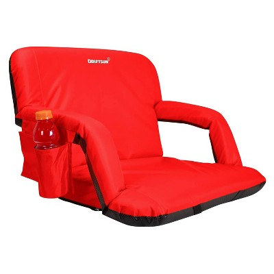 Driftsun Padded Folding Portable 6 Position Reclining Cushioned Stadium Seat Chair with Side Beverage Cup Holder and Backpack Carry Straps, Red