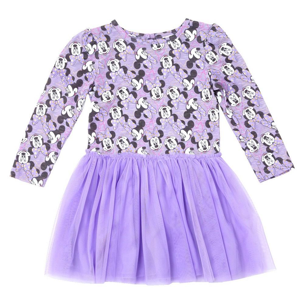 Toddler Girls' Minnie Mouse A Line Dress Disney Lilac (Purple) 5T