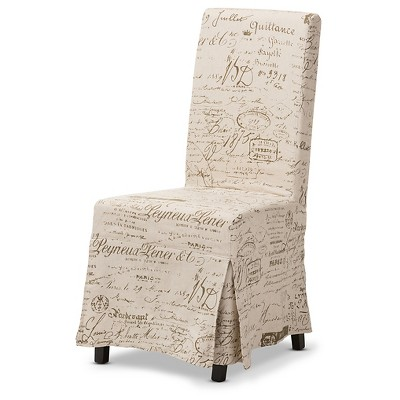 Picard French Script Beige Linen Modern Dining Chairs (Set Of 2)   Baxton  Studio