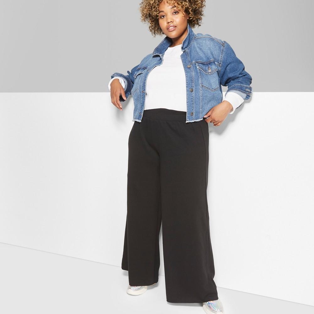 Women's Plus Size High-Waist Wide Leg Sweatpants - Wild Fable Black 2X