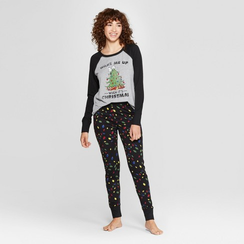 Women s Peanuts Snoopy Holiday Super Soft Pajama Set - Black   Target 534cd1e21
