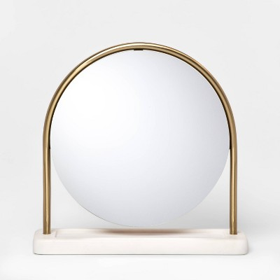 "14.5"" x 4"" Metal Vanity Mirror with Marble Base Gold/White - Project 62™"