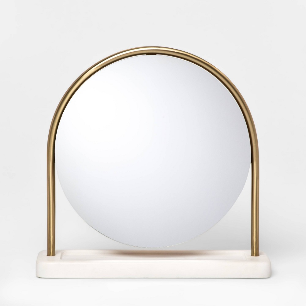 "Image of ""14.5"""" x 4"""" Metal Vanity Mirror with Marble Base Gold/White - Project 62"""