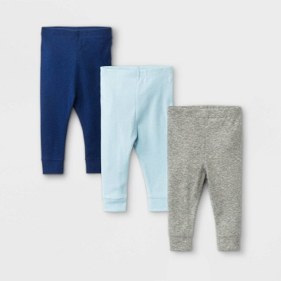 Baby Boys' 3pk Basic Pull-On Pants - Cloud Island™ Blue Newborn