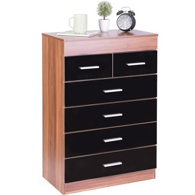 Basicwise Modern Wooden Chest with 4+2 Drawers, Natural and Black