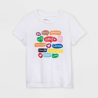 Pride Gender Inclusive Toddler's Word Bubbles Short Sleeve Graphic T-Shirt - White