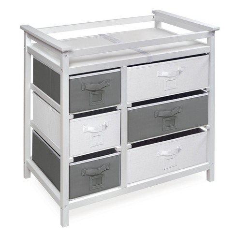 Badger Basket Modern Baby Changing Table with Six Baskets - White