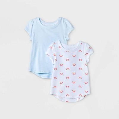 Toddler Girls' 2pk Rainbow & Sparkle Short Sleeve T-Shirt - Cat & Jack™ White/Blue