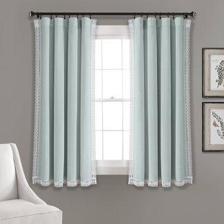 "54""x108"" Rosalie Rod Pocket Light Filtering Window Curtain Panels Blue - Lush Décor"