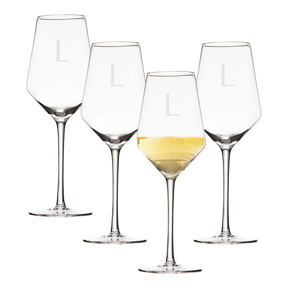 Image of 14oz 4pk Monogram Estate White Wine Glasses L - Cathy's Concepts, Clear