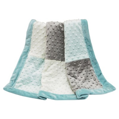 The Peanut Shell Plush Dot Patchwork Blanket - Uptown Giraffe