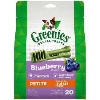 Greenies Petite Natural Dog Dental Care Chews Oral Health Dog Treats Blueberry Flavor - 12oz