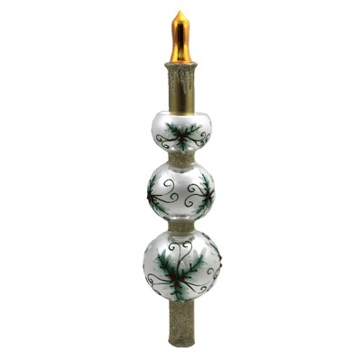 """Christina's World 12.0"""" 3 Tiered Holly Lace & Candle Tree Topper Finial Floral  -  Tree Toppers"""