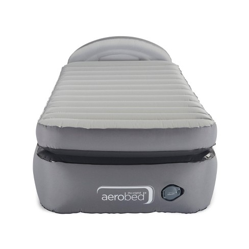 Aerobed Comfort Lock Laminated Inflatable Twin Air Mattress with Headboard and Electric Pump - Gray - image 1 of 4