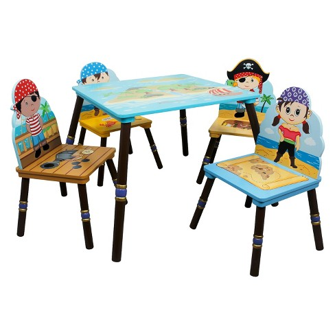 5 Piece Fantasy Fields Pirates Island Table and Chair Set Wood - Teamson - image 1 of 10