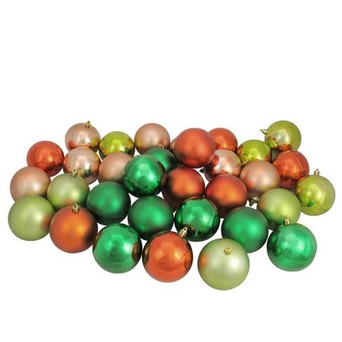 Northlight 32ct Shatterproof Christmas Ball Ornament Set 3 25 Green Orange Target