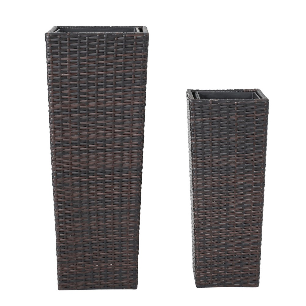 Everest 31 34 And 23 34 Cone Column Wicker 2pk Planters Brown Christopher Knight Home