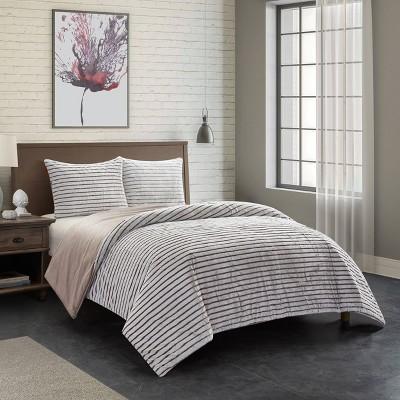 Dearfoams Drydon Ribbed Plush Comforter Set with Sherpa Reverse
