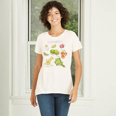 Women's Short Sleeve Guacamole Grid Graphic T-Shirt - Awake White
