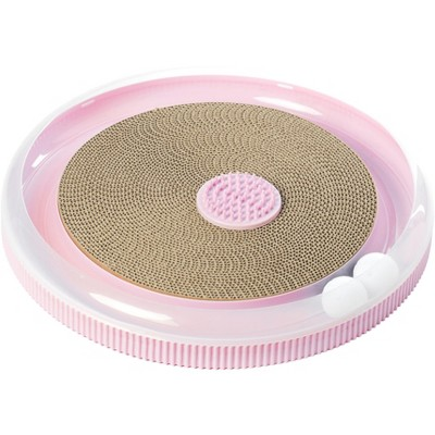 PawsMark Pink 4 in 1 Interactive Round Cat Scratcher, Lounge, Toy and Brush
