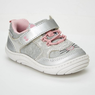 Baby Girls' Surprize by Stride Rite Kitty Sneaker - Silver 3