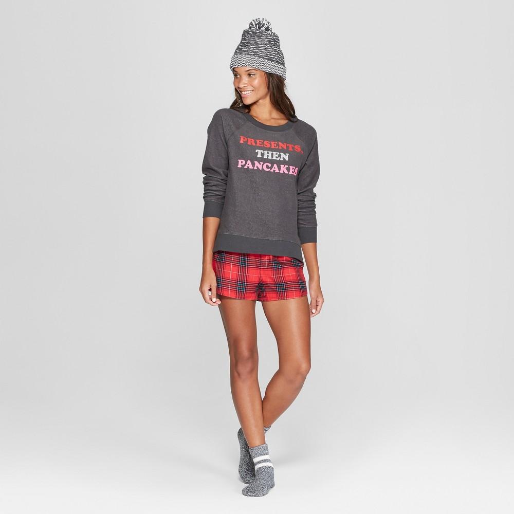 Women's Plaid Presents, Then Pancakes 4pc Pajama Set - Xhilaration Charcoal M, Gray