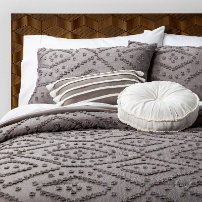 Full/Queen 5pc Olympia Clipped Comforter Set Gray - Opalhouse™
