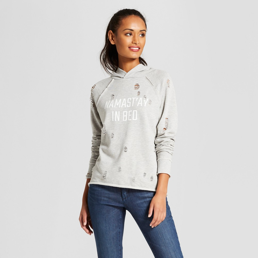 Women's Namastay in Bed Hooded Pullover Distressed Graphic Sweatshirt - Grayson Threads (Juniors') Heather Gray S