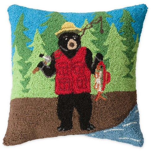 Hand-Hooked Wool Fishing Bear Decorative Throw Pillow - Plow & Hearth - image 1 of 2