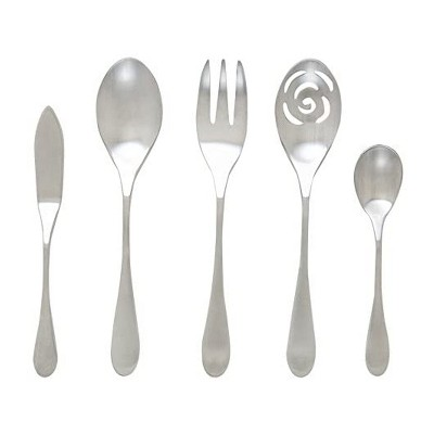 Knork 5 Piece Stainless Steel Dishwasher Safe Flatware Serving Set with Serving Spoon, Slotted Spoon, Sugar Spoon, Butter Knife, & Meat Fork, Silver