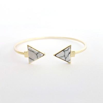Sanctuary Project Semi Precious White Howlite Arrow Cuff Bracelet Gold