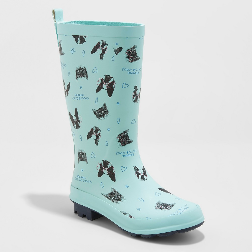 Girls' Audria Printed Rain Boots - Cat & Jack Mint (Green) 13