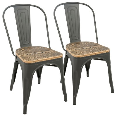 Set of 2 Oregon Industrial Farmhouse Stackable Dining Chair Brown - LumiSource