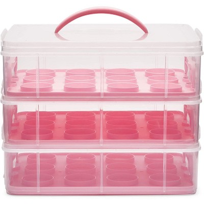Juvale Clear Plastic 3 Tier Cupcake Carrier Storage Box Holder with Lid for 36 Cakes, 13.5x10.25x10.75 In