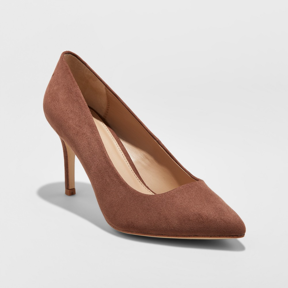 Women's Gemma Wide Width Pointed Toe Nude Pumps - A New Day Coffee Bean 9W, Size: 9 Wide