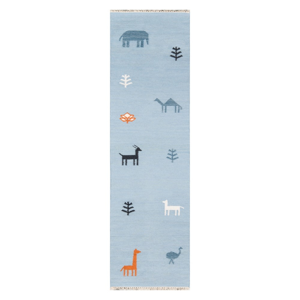 Image of 2'3X8' Animal Print Woven Runner Blue - Erin Gates By Momeni