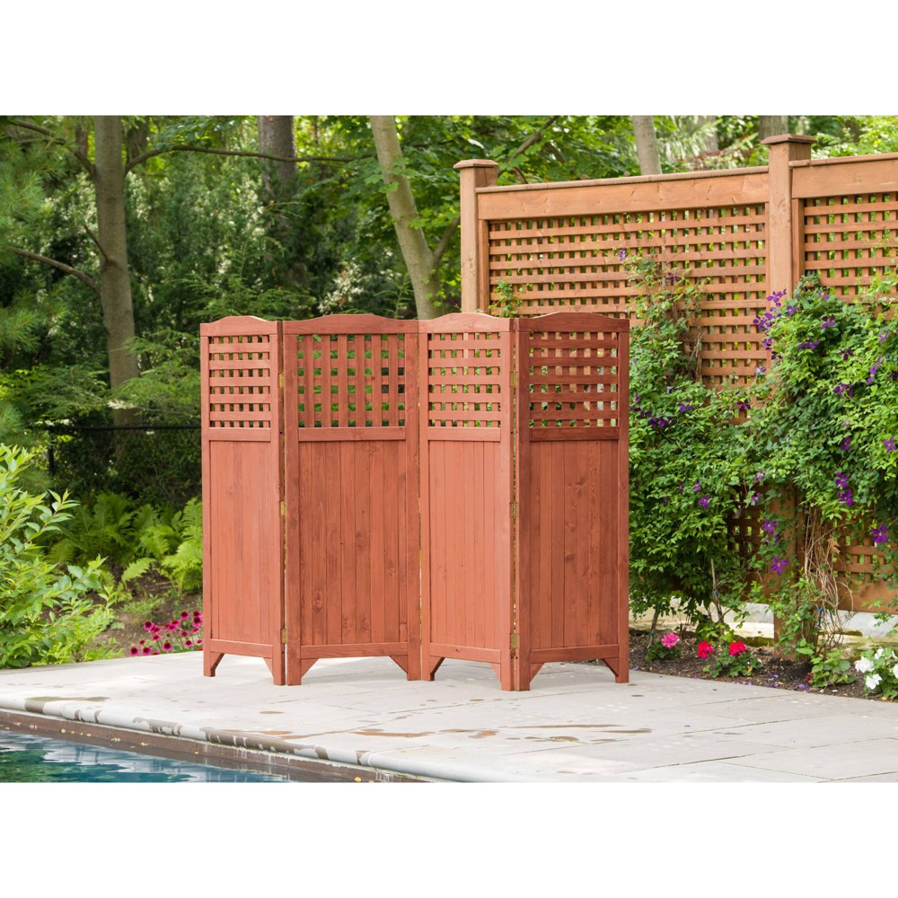 64 Patio Decorative Screen Privacy Screen - Brown - Leisure Season Add functional decor to your patio space with this simply stunning Patio Decorative Screen Privacy Screen from Leisure Season. Crafted with four generous hinged-panels topped by pretty cutout details, this lightweight room or space divider can provide privacy while defining space. This screen balances form and function as it provides seclusion in outdoor spaces like the pool area or the porch when you need it but can be folded and stored away with ease when not required. This decorative screen also makes an attractive accent piece for indoor spaces. Color: Brown.