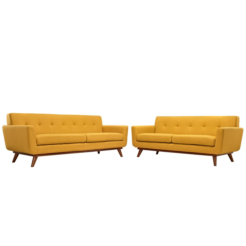 Engage Loveseat and Sofa Set of 2 Citrus - Modway