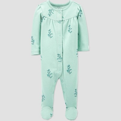 Baby Girls' Organic Cotton Sleep N' Play - little planet organic by carter's Mint 9M