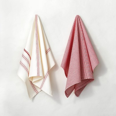 2pk Holiday Stripe and Pattern Kitchen Towel Set Red - Hearth & Hand™ with Magnolia
