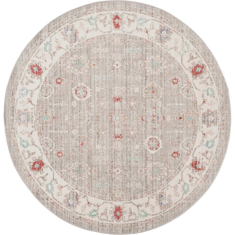 6' Shapes Loomed Round Area Rug Light Gray/Ivory - Safavieh