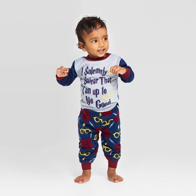 "Toddler Harry Potter Holiday ""I Solemnly Swear"" Pajama Set - Navy 2T"