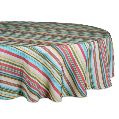 "60""R Summer Stripe Outdoor Tablecloth With Zipper - Design Imports"
