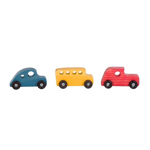 Remley Kids Wooden Classic Toy Cars Set Of 3 Yellow Red Blue Target