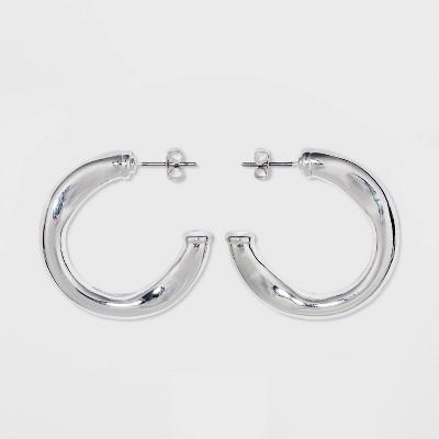 Wavy Hoop Earrings - A New Day™ Silver