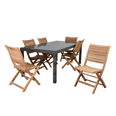 Harwich 7pc Wicker Patio Dining Set with Rectangular Table - Amazonia