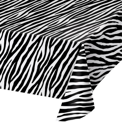 Zebra Print Plastic Tablecloth